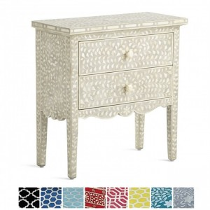 Maaya Bone inlay White Floral 2 drawer bedside lamp table