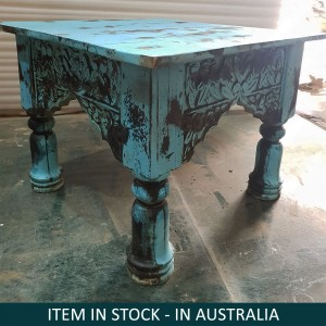 Indian Antique Style Solid Wood Mini Side Table Blue
