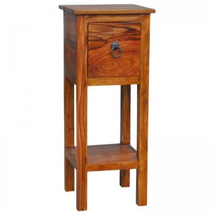 Takat Metal Jali Natural Solid Wood Telephone Table