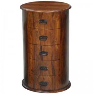 Takat Metal Jali Natural Solid Wood 5 Drawer Drum Chest