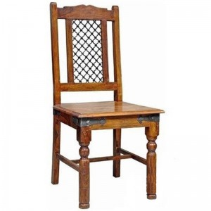 Takat Metal Jali Natural Solid Wood Rawat Chairs x2