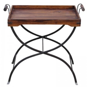 Takat Metal Jali Natural Solid Wood Tray & End Table