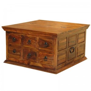 Takat Metal Jali Natural Solid Wood Large 6 Drawer Box Chest Coffee Table