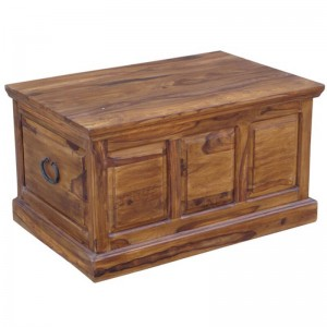 Takat Metal Jali Natural Solid Wood Large Trunk Chest Ottoman Box