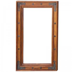 Takat Metal Jali Natural Solid Wood Mirror Small