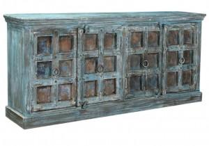 Antique Vintage Doors Large Sideboard Blue Solid Wood And Metal Indian Brocante