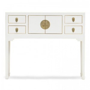 Golden Dragon Oriental Painted Solid Wood White Console Table 100x25x80cm