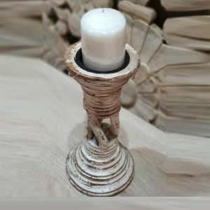 Antique Indian Solid Wood Pillar Leg Candle Stand Holder White 15 x 15 x 24 cm