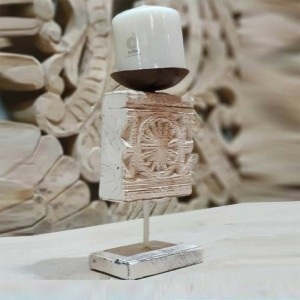 Antique Indian Wood Carved Candle Stand Holder White 12 x 6.5 x21cm