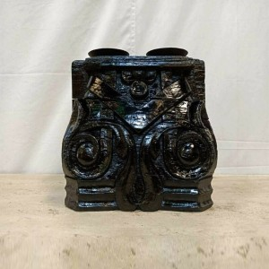 Antique Indian Carved Wooden Pillar Base Candle Holder Vintage Black Finish B