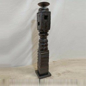 Antique Indian Pillar Leg Wood Carved Vintage Candle Stand holder Black Finish C