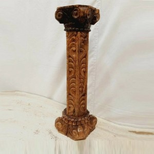 Antique Indian Pillar Leg Natural Wood Carved Vintage Candle Stand holder 57cm J