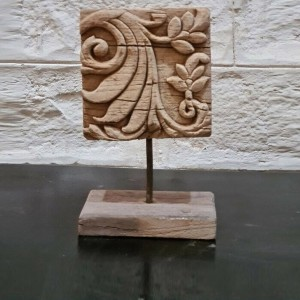 Hand carved Wooden Vintage Antique Panel Candle Holder Candle Stand Natural 20cm