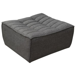 Scooped Seat Ottoman Grey Fabric