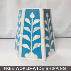 Real Bone Inlay Designer Pillar Vintage Candle Stand Holder BLUE D