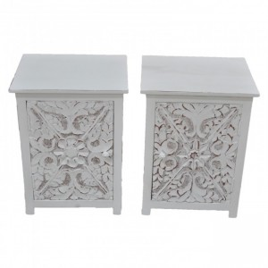 PARIS Carved Solid Wood Pair of Bedsides White B