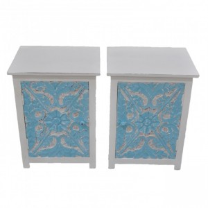 PARIS Carved Pair of Bedsides White with Blue Door C