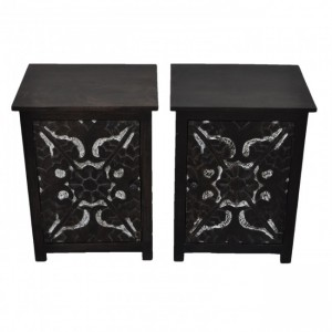 PARIS Carved Pair of Bedsides Chocolate F