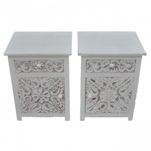 PARIS Carved Pair of Bedsides with Drawer White B