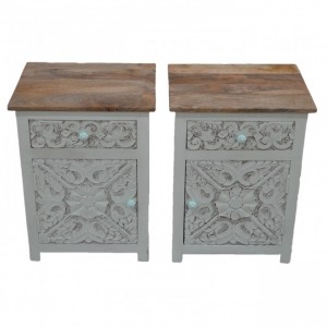 PARIS Carved Pair of White Bedsides Natural Top with Drawer D
