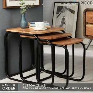 Industrial Metal Base Solid wood Nest of 3 Hall Table Side Table