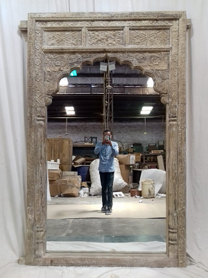Hand Carved Arch Mirror Frame With Bleach Finish
