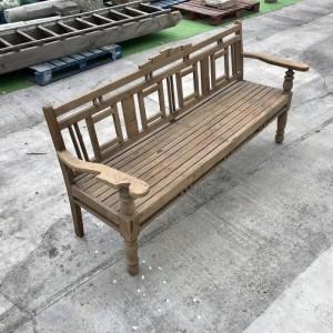 Vintage Indian Teak Wood Colonial Garden Bench 4 Seater