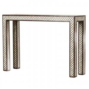 Maaya Bone inlay Brown White Geometric Console Hall table