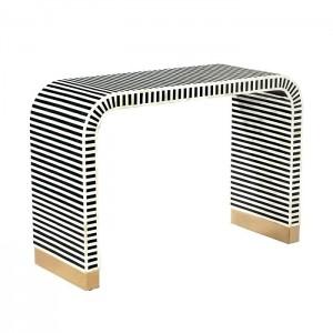 Maaya Bone inlay Black White Striped Console Hall table