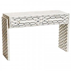 MAAYA Bone Inlay wooden 2 Drawer Hall Side Table