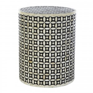 Maaya Bone Inlay Round drum Side Table Black Geometry L