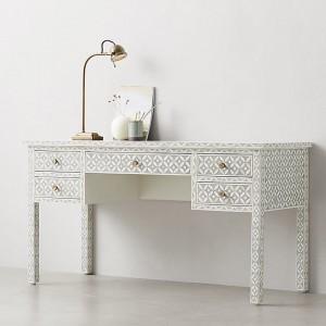 MAAYA Bone Inlay Solidwood 5 Drawer Hall Side Table Desk