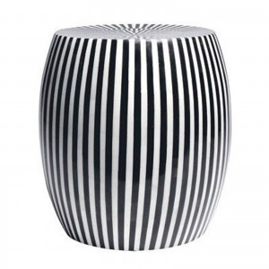 Maaya Bone Inlay Round drum Side Table Black Striped L