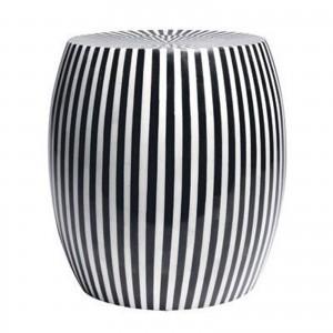 Maaya Bone Inlay Round drum Side Table Black Striped L