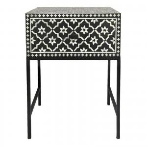 Maaya Bone Inlay Square lamp Table on metal stand