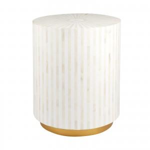 Maaya Brass Bone Inlay Round drum Side Table Grey Striped L