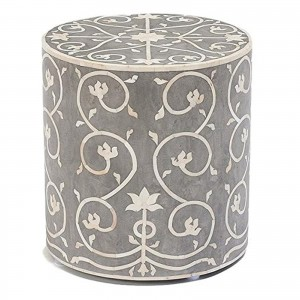 Maaya Brass Bone Inlay Round drum Side Table Grey Flower L