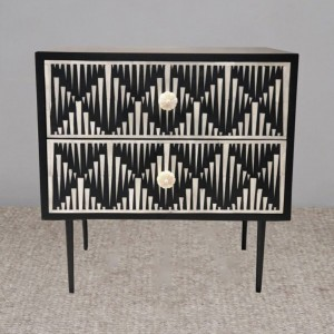 Maaya Bone Inlay Side Table cabinet Lamp table Black Geometric
