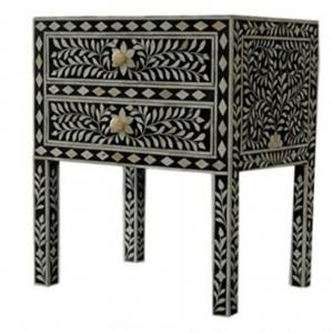Maaya Bone Inlay Bedside cabinet Lamp table Black Floral