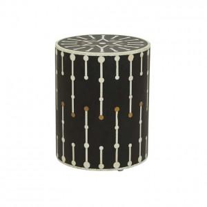 Maaya Brass Bone Inlay Round drum Side Table Black Geometric L