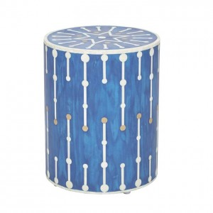 Maaya Brass Bone Inlay Round drum Side Table Blue Geometric L
