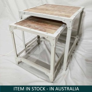 Angle Industrial Mango Wood White wash Nested Side tables