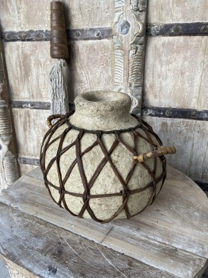 Wooden Oil Pot Paper Mache Round With Braided Leather B
