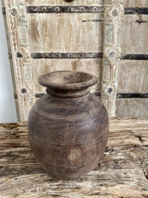Nepalese Wooden Oil Pot 27cm Natural
