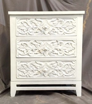 MADE TO ORDER Indian hand carved Chest of 3 drawers dresser White 66x36x82