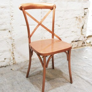 Industrial Cross Back Copper metal dining chair home restaurant seating