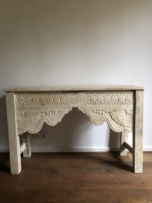 Wooden Carved Console Hall Table White Shela 120cm