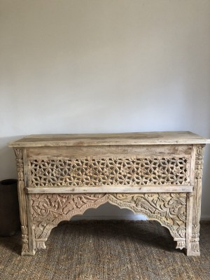 Wooden Carved Console Hall Table White Jali Tanish 120cm