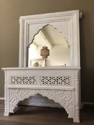 Wooden Console Hall Table Whitewash Tanish 120cm With Drawers