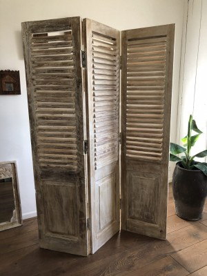 Jali Hand Carved Indian Folding Screen Bleached